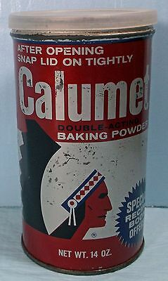 ADVERTISING 1982 CALUMENT DOUBLE ACTING BAKING POWDER 14 oz. TIN with LID