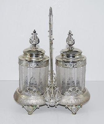 Antique Double Simpson Hall Miller Silver Plate Pickle Castor Etched Glass Bird