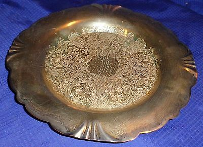 RP1595 Vtg Monarch Plate Silver Plated Wine Bottle Coaster Trinket Tray Dish