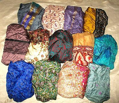 LOT PURE SILK Antique Vintage Sari Saree Fabric 13 Pcs 1 FOOT  Lt23 5k #ABCVR
