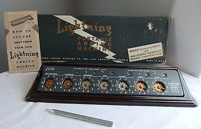 Antique Lightning Portable Adding Machine w/ Instructions & Box Vtg Accounting