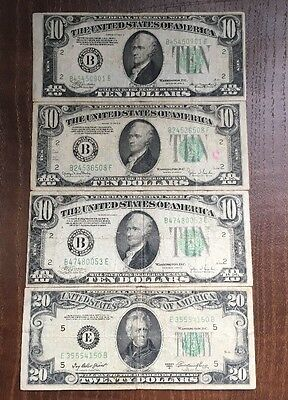 Lot of 1934 $10 Federal Reserve Notes Off Center Error Cut + $20 1950