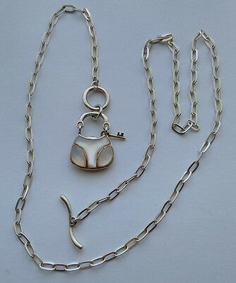 Lovely 925 Sterling Silver Mother Of Pearl Handbag Pendant Necklace Chain