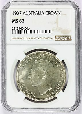 1937 Australia 1 One Crown Silver Coin - NGC MS 62 Graded - KM# 34
