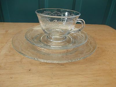 Vintage Fostoria Romance Clear Glass Cup, Saucer and 7 1/2-Inch Plate, Ribbon