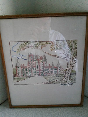 Vintage Framed Glazed Embroidered Picture- Queen Mothers Glamis Castle Scotland