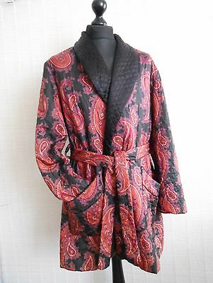 "Vintage Tootal Paisley Quilted Smoking Jacket Dressing Gown Robe L /xl 44"" Chest"