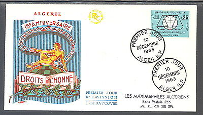 Algeria FDC Human Rights 15th Anniversary 1963