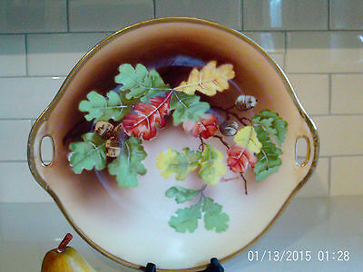 Vintage O&EG Royal Austria Cake Plate Fall Leaves Gold Hand Painted Signed