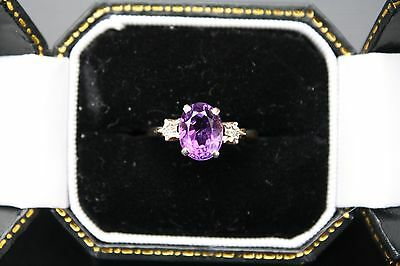 GORGEOUS 9ct YELLOW GOLD AMETHYST AND DIAMOND TRILOGY RING VINTAGE 1987