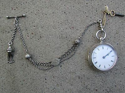 Antique solid silver pocket watch and chain/fob