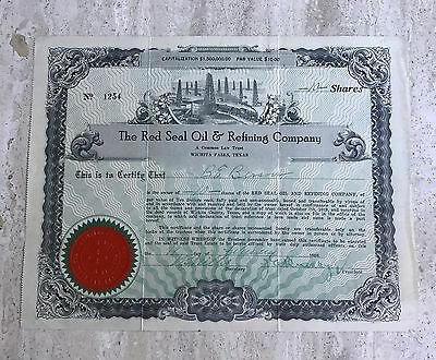Stock Certificate.The Red Seal Oil & Refining Company. Texas. 1920.