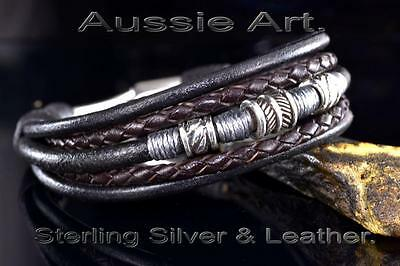 5B-312 Solid Sterling Silver & Leather Feather New Wristband Bangle Men Bracelet
