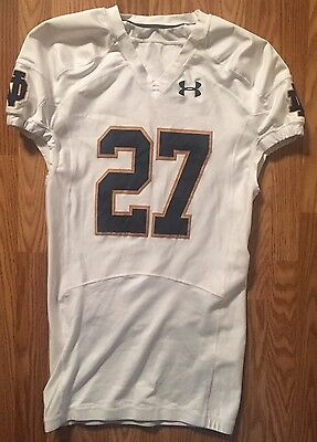 Notre Dame Football 2014 Under Armour Game Used Away Jersey #27 Brindza