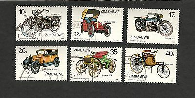 "1986 Zimbabwe SC #535-40 FORD MODEL "" A""  BENZ DOUGLAS SOPWITH used stamps"