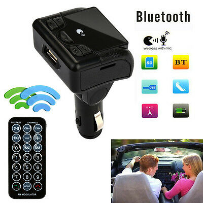 Car Bluetooth Wireless FM Transmitter AUX Radio Adapter MP3 Handsfree Call BK