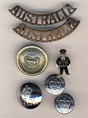 WW2 Australia Army Uniform Shoulder Titles + NT Queensland Police Pin Buttons