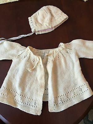 Vintage Hand Crochet Baby Sweater and Bonnet Ivory/Pink Lining +Crochet Blanket