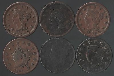 Lot Of 6 Large Cents  1819-1851 - Free Shipping