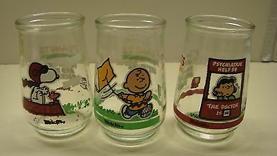Snoopy Welch's Jelly Glasses (Lot of 3) Vintage