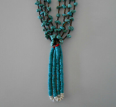 Magnificent Native American Santo Domingo Turquoise Jacla Necklace