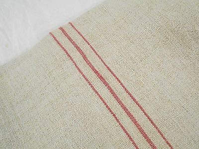 Vtg Antique SOFT RED STRIPE European HEMP LINEN Fabric FEED SACK GRAIN BAG 21X51