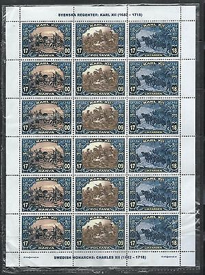 Swedish Monarchs Charles XII Battle Scenes Poster Stamps Sheet of 18
