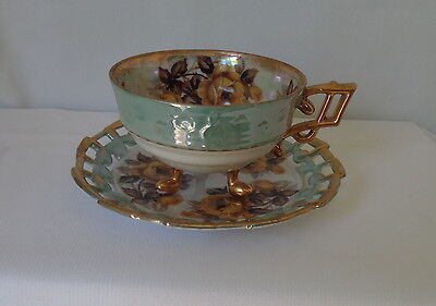 Vintage Cup and Saucer footed