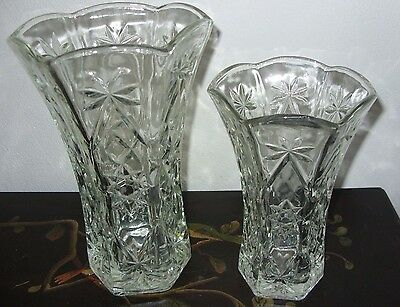 Anchor Hocking Star of David Early American Prescut Large and Small Vases-1 Each