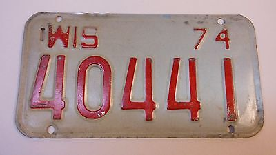 Wisconsin 1974 Motor Cycle  License Plate
