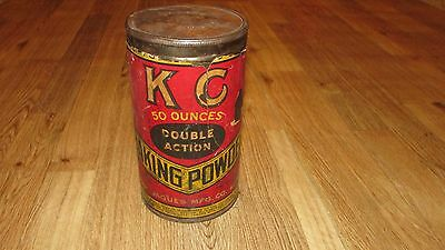 Vintage KC Baking Powder Tin Can, 50 Ounces Double Action, Neat!