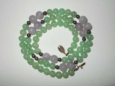 VTG CHINESE EXPORT STERLING SILVER LAVENDER JADE & AVENTURINE BEAD NECKLACE 59g