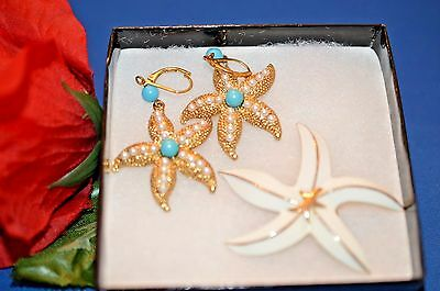 Vintage Starfish 2 Piece Jewelry Lot, Enamel White/ Gold Earrings And Brooch Pin