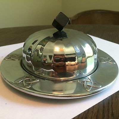 WMF German Bauhaus Deco chrome bakelite butter dish. Unusual.