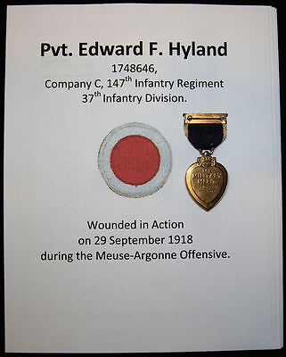 WWI 37th Division Named & Numbered Purple Heart Medal w/AGO Card & Research
