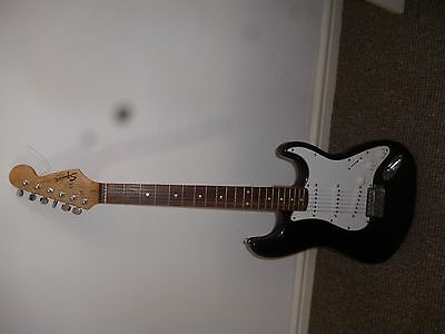 Fender Squire Electric Six String Electric Guitar Black CAE Serial No  year 2000