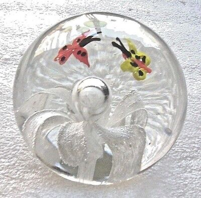Paperweight Glass Ball H/ Blown Butterfly Beatle Flower