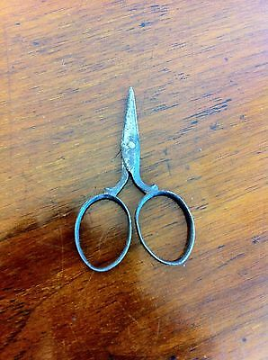 LOVELY PAIR of DECORATIVE ANTIQUE MINIATURE STEEL NEEDLEWORK SCISSORS 2.9 inches