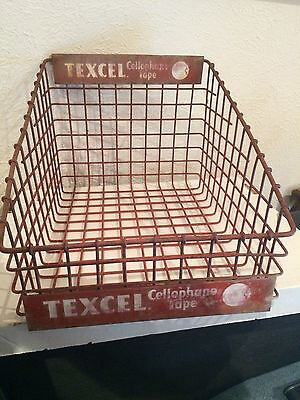 Vintage Texcel Cellophane Tape counter display wire basket #3