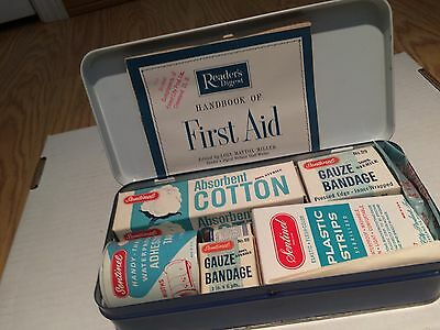 Vintage 1950s Sentinel Family First Aid Kit w/ original contents by Forest City