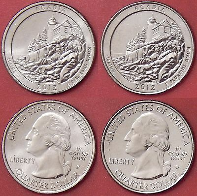 Brilliant Uncirculated 2012 P & D US Acadia 25 Cents From Mint's Rolls