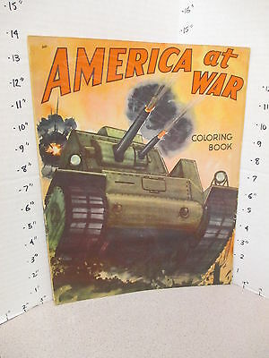 AMERICA AT WAR 1943 WWII Saalfield Army tank flame thrower coloring book unused