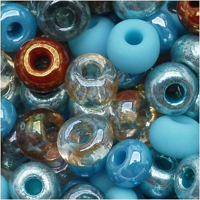 Czech Seed Beads 6/0 'Blue Turquoise Grotto' Mix Lot