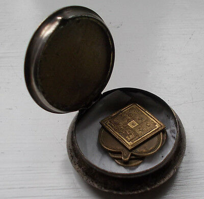 Set Of 4 Antique Brass Gaming Counters / Tokens  &  Metal Box