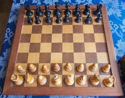 ANTIQUE CHESS SET AND BOARD  16 inch square