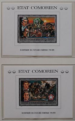 COMOROS 1976, $70, ImPerf MNH Sheets, Indians, 200 Years USA Independence