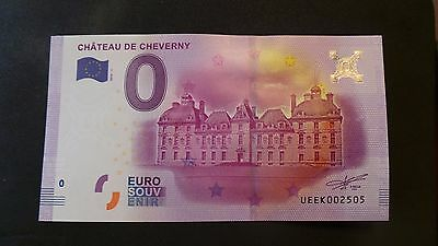 """France, Mint, 0 Euro, Novelty Note. Banknote Quality. """"Chateau de Cheverny""""."""