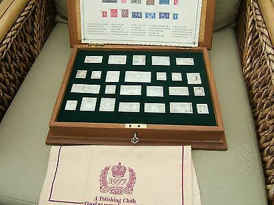 BRITISH SOLID  'SILVER'  'STAMPS'  SET OF 25 IN CASE    484grms .925 SILVER