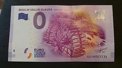 """France, Mint, 0 Euro, Novelty Note. Banknote Quality. """"Moulin Vallis Clausa""""."""