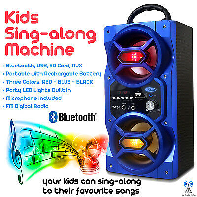 Blue Kids Sing-Along Portable Speaker With 2 Microphones